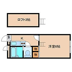近鉄奈良線 学園前駅 徒歩6分の賃貸マンション 2階1Kの間取り