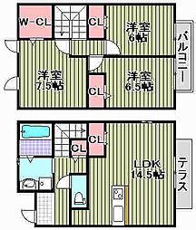 [タウンハウス] 大阪府泉大津市東雲町 の賃貸【/】の間取り