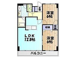 神奈川県秦野市曽屋の賃貸マンションの間取り