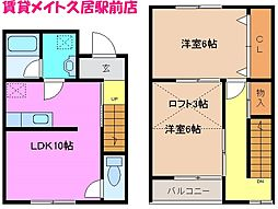 三重県津市高茶屋小森上野町の賃貸アパートの間取り
