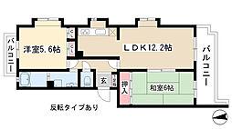 愛知県名古屋市守山区白山2丁目の賃貸マンションの間取り