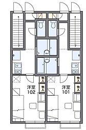 多摩都市モノレール 上北台駅 徒歩18分の賃貸アパート 1階1Kの間取り