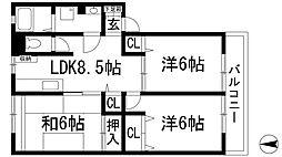 兵庫県川西市花屋敷2丁目の賃貸アパートの間取り