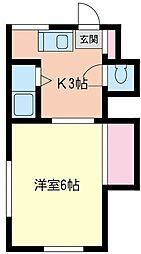 神奈川県相模原市南区東林間6丁目の賃貸アパートの間取り