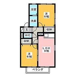 ハーモニー柏井[2階]の間取り