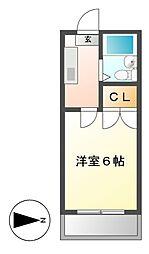 愛知県名古屋市中村区北浦町の賃貸アパートの間取り