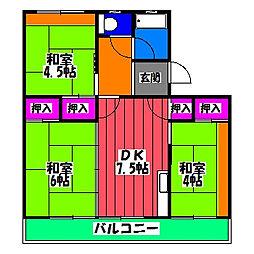 福岡県福岡市博多区麦野2丁目の賃貸マンションの間取り
