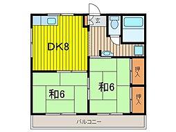 金子コーポ[201号室]の間取り