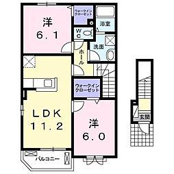 南海線 鳥取ノ荘駅 徒歩5分の賃貸アパート 2階2LDKの間取り