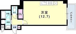 インペリアル新神戸 2階ワンルームの間取り