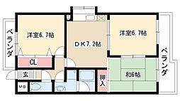 愛知県名古屋市天白区中平5丁目の賃貸マンションの間取り