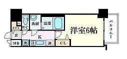 プレサンス梅田東グラッド 11階1Kの間取り