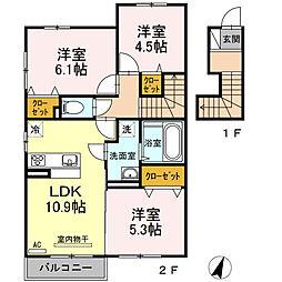 シュプリーム A棟(アパート) 2階3LDKの間取り
