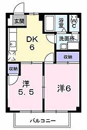 長野県松本市征矢野2丁目の賃貸アパートの間取り
