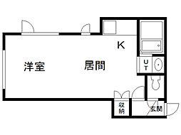 トキメック円山並木通1 2階1LDKの間取り