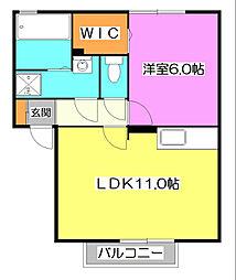 埼玉県新座市石神2丁目の賃貸アパートの間取り