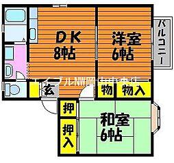 岡山県岡山市中区中島丁目なしの賃貸アパートの間取り