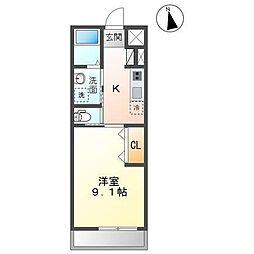 木更津市祇園4丁目新築アパート 2階1Kの間取り