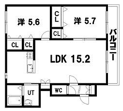 ヴィラ・ドゥ アカシヤA棟 4階2LDKの間取り