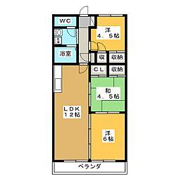 クレストンマンションⅠ[4階]の間取り