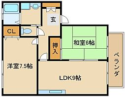 兵庫県加古川市山手2丁目の賃貸アパートの間取り