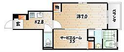 福岡県北九州市小倉北区足立1丁目の賃貸アパートの間取り