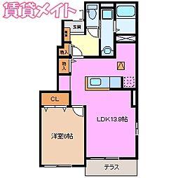 三岐鉄道北勢線 楚原駅 徒歩7分の賃貸アパート 1階1LDKの間取り