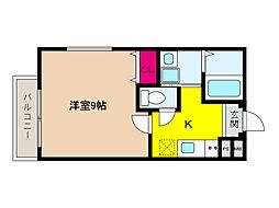 阪神本線 大石駅 徒歩5分の賃貸アパート 1階1Kの間取り