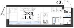 西日暮里レーベル 4階1Kの間取り
