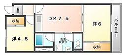 大阪府守口市梶町3丁目の賃貸マンションの間取り