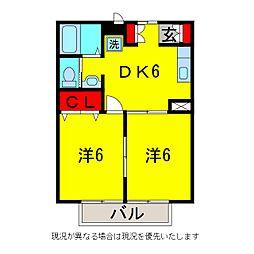 ビーバープレイス五井A[1階]の間取り