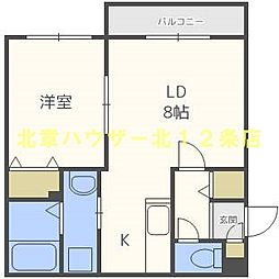 モンテリブロ 札幌東 4階1LDKの間取り