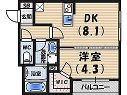 阪神本線 西宮駅 徒歩6分の賃貸マンション 2階1DKの間取り