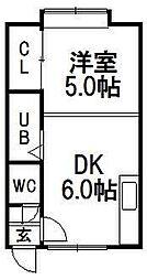 レジデンスASUKA[3号室]の間取り