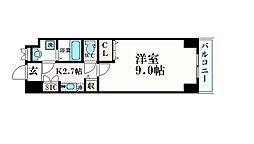 名古屋市営桜通線 久屋大通駅 徒歩4分の賃貸マンション 8階1Kの間取り