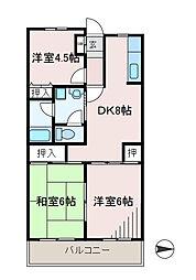 サンヒルマンション[1階]の間取り