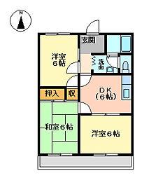 プリベールII[2階]の間取り