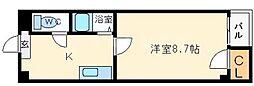 ベルフレージュ北堀江[11階]の間取り