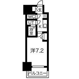 名古屋市営東山線 新栄町駅 徒歩9分の賃貸マンション 12階1Kの間取り
