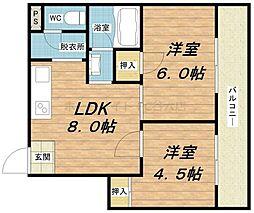 エクセルハイム川富[9階]の間取り