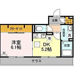 神奈川県厚木市岡田1丁目の賃貸アパートの間取り