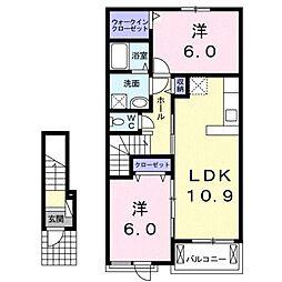 近鉄山田線 斎宮駅 徒歩17分の賃貸アパート 2階2LDKの間取り