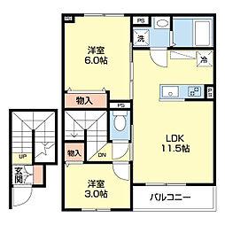 エクレール 2階2LDKの間取り
