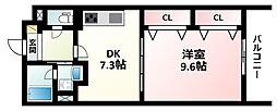 Osaka Metro御堂筋線 江坂駅 徒歩10分の賃貸アパート 2階1DKの間取り