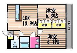 岡山県倉敷市玉島黒崎の賃貸アパートの間取り