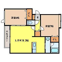 北海道札幌市北区北三十条西10丁目の賃貸アパートの間取り