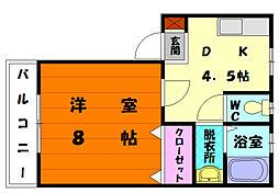 福岡県福岡市東区香椎駅前3丁目の賃貸アパートの間取り