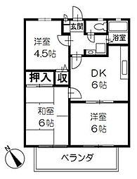 ファミール京屋C[2階]の間取り