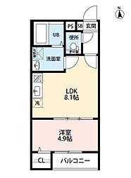 名古屋市営名城線 堀田駅 徒歩4分の賃貸アパート 1階1LDKの間取り