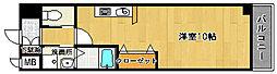 ファミール綾園 3階ワンルームの間取り